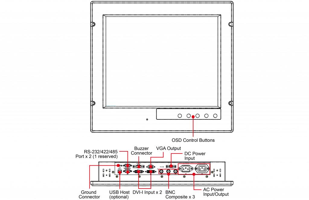 Apparence de l'écran industriel MD-119 Moxa